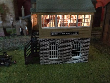 Signal box with interior by James Trotter on the exhibition layout 'Chapelfirth'.\\n\\n19/09/2016 10:22