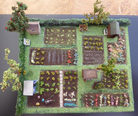 Allotment scene created by Jenny at CMW miniatures workshop\\n\\n14/10/2018 13:30