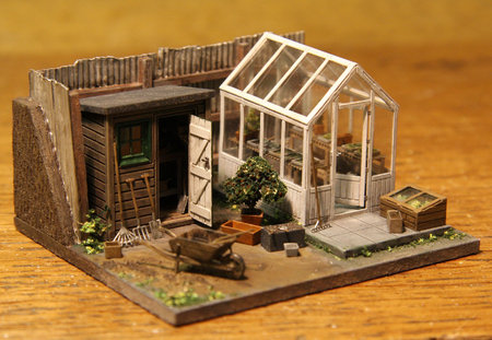 The greenhouse, shed and tools in a garden diorama\\n\\n07/06/2016 12:13
